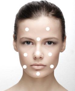 Примерная схема нанесения крема на лицо
